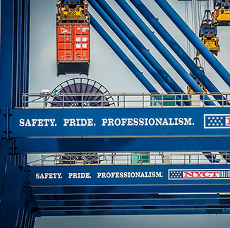 GCT crane with text reading: Safety. Pride. Professionalism.